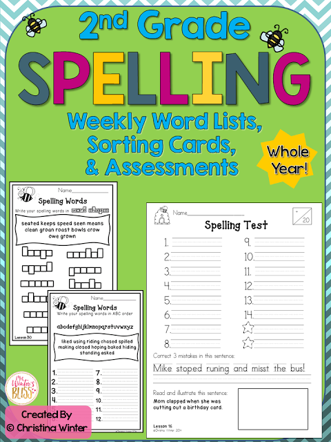 This second grade spelling program has word lists and assessments for the entire year. For each spelling/phonics pattern there is a fun worksheet that are perfect for your students to use in literacy centers, for morning work, or homework.