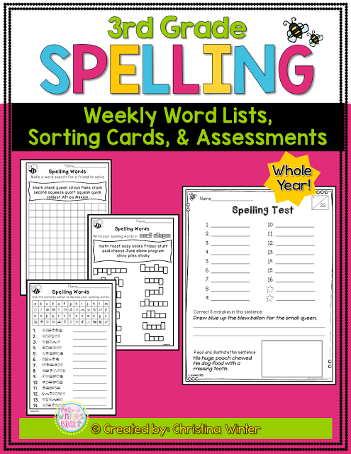 This third grade spelling program has word lists and assessments for the entire year. For each spelling/phonics pattern there is a fun worksheet that are perfect for your students to use in literacy centers, for morning work, or homework.