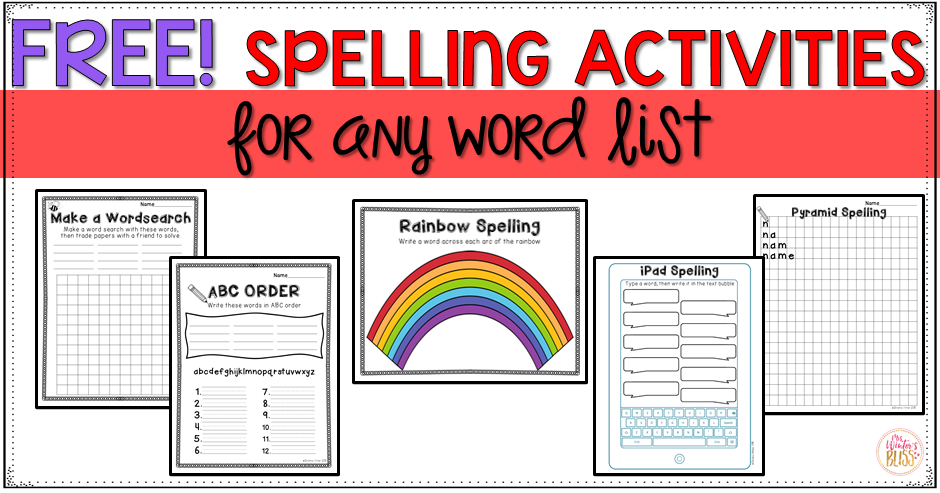 Spelling activities a freebie mrs winters bliss spelling activities ccuart Image collections