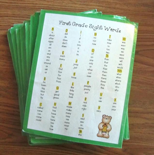 first grade homework folder