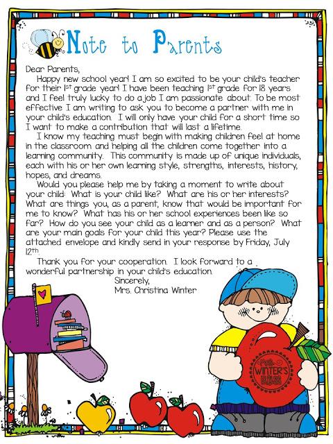 teacher note to parents