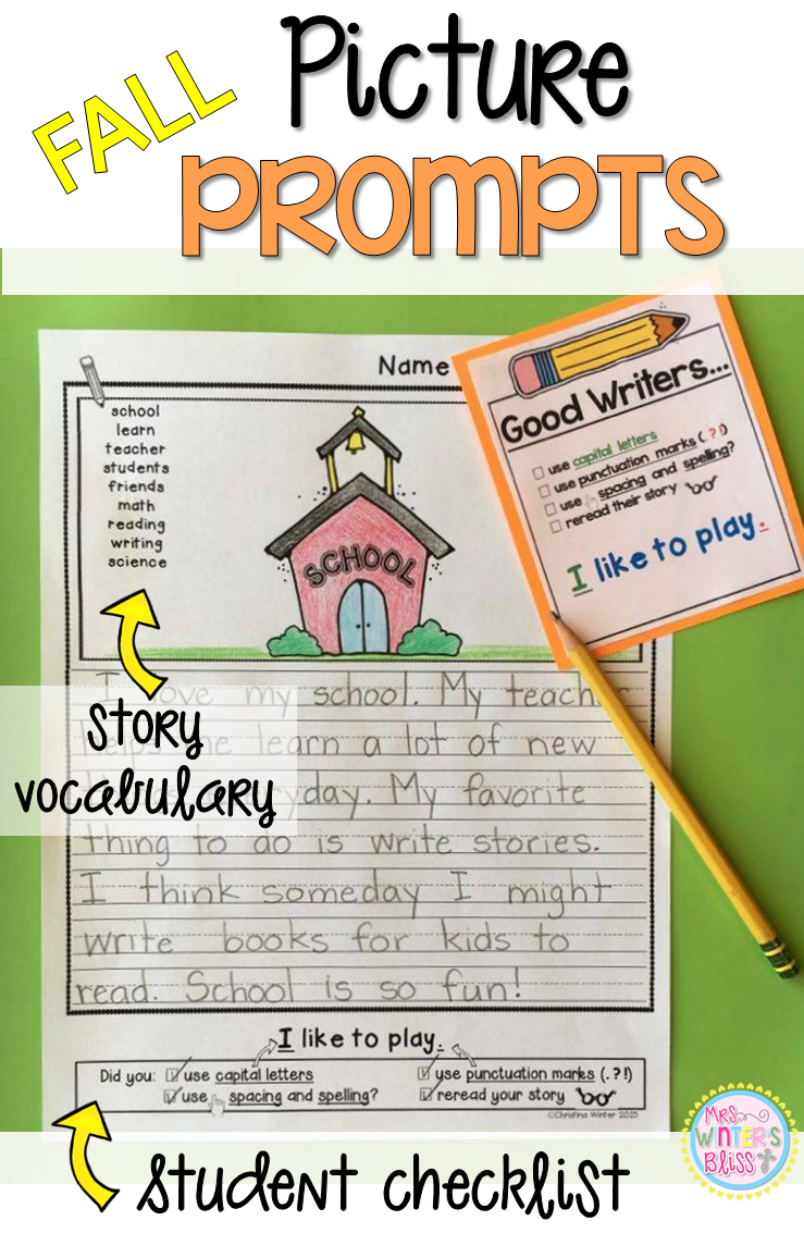 Writing Picture Prompts~ These picture prompts naturally differentiate your writing center. Each page has key vocabulary to support kindergarten, first and second grade writers. These are a perfect addition to your work on writing center! #firstgrade #writing