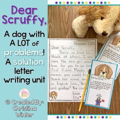 Your students will love writing friendly letters to Scruffy the dog who has lots of problems to be solved! This is a perfect letter writing unit to put in an independent writing center once you teach the parts of a friendly letter (anchor charts included too). Scruffy has so many problems, your students will use their reasoning skills and have the opportunity to work on writing him letters with endless solutions for many months.