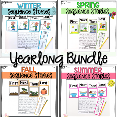 My students are so successful at writing using these story sequence writing prompts! For this activity, writers use the 4 sequence picture cards to order events, then they can use the transition words and specific story vocabulary words to tell their story.