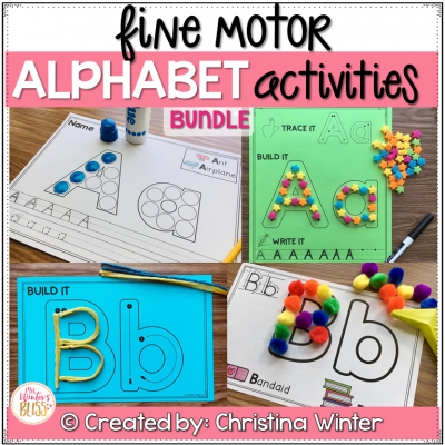 THIS BUNDLE of alphabet activities are a fun way for kids to practice fine motor skills, hand-eye coordination, and proper alphabet letter formation. There are 2 versions of each activity included in this resource to help you best meet the needs of your students.