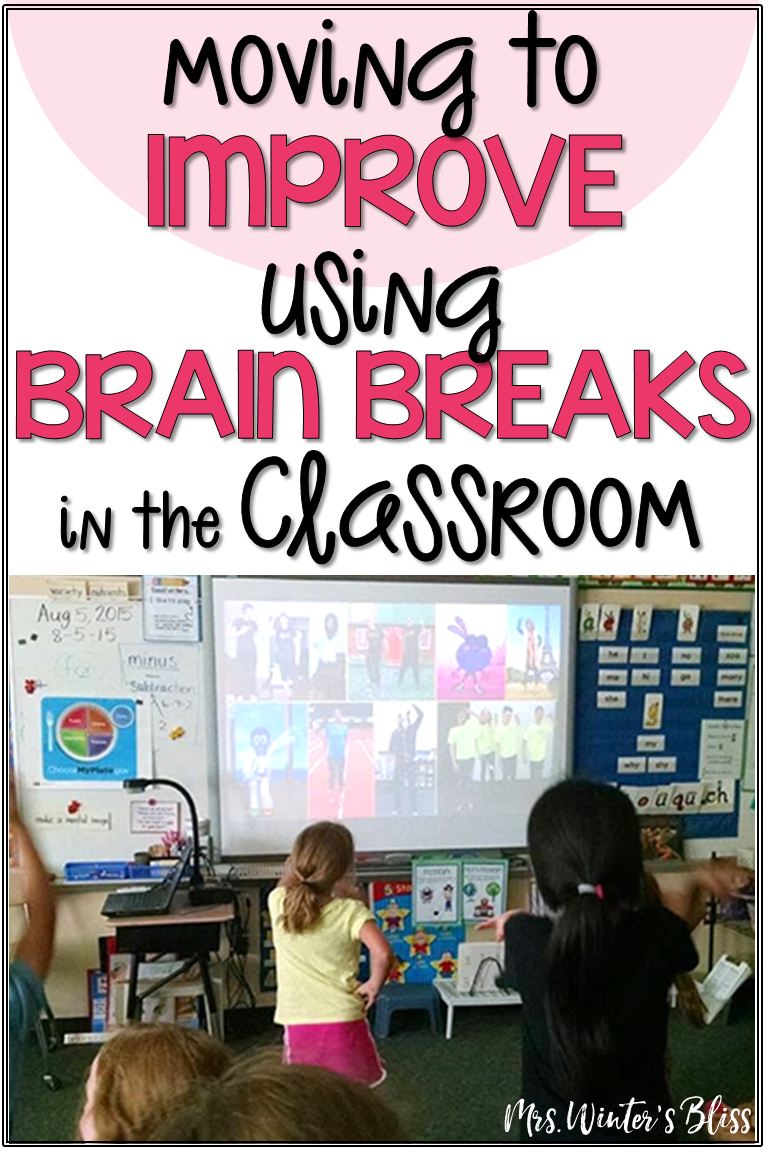 Free brain break ideas perfect for elementary kids. These brain break activities are a fun indoor recess activity or any break when students need to get up and move in the classroom! #mrswintersbliss #brainbreaks  #ideasfortheclassroom