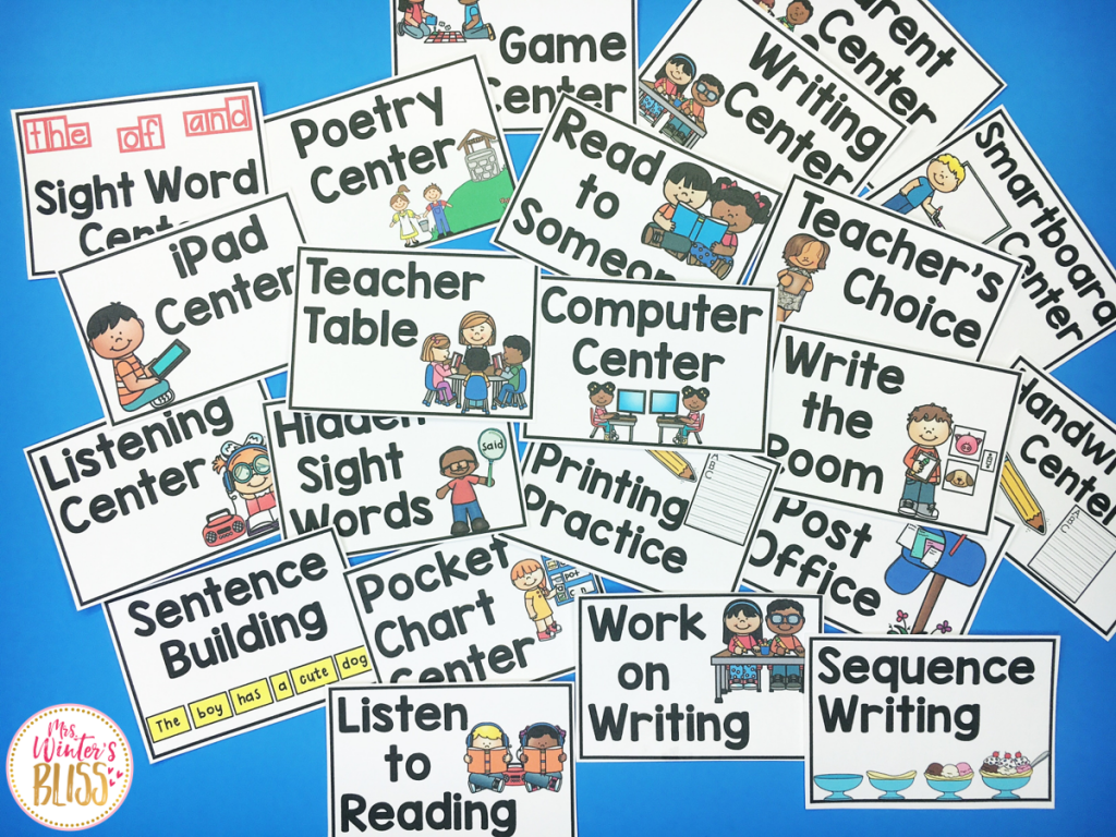 Literacy centers cards