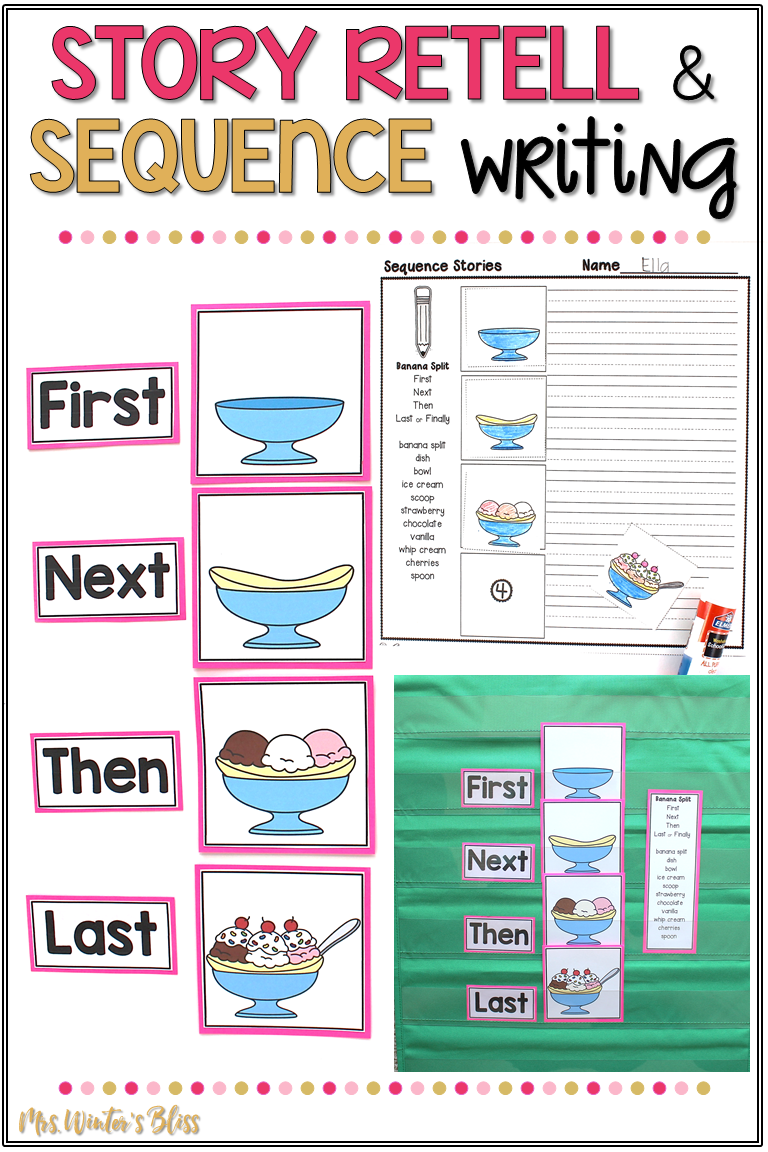 These sequence writing prompts are the perfect templates to support kindergarten, first, and second grade students as they are learning to retell stories and sequence events in their writing. These graphic organizers can be used in multiple ways to develop common core standards of writing and oral language skills. #mrswintersbliss #teachingwriting #firstgrade #kindergarten #secondgrade #sequencewriting #sequenceevents