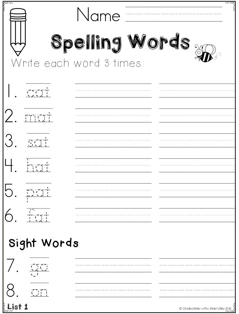 1st Grade Spelling Assessments & Word Lists EDITABLE {year ...