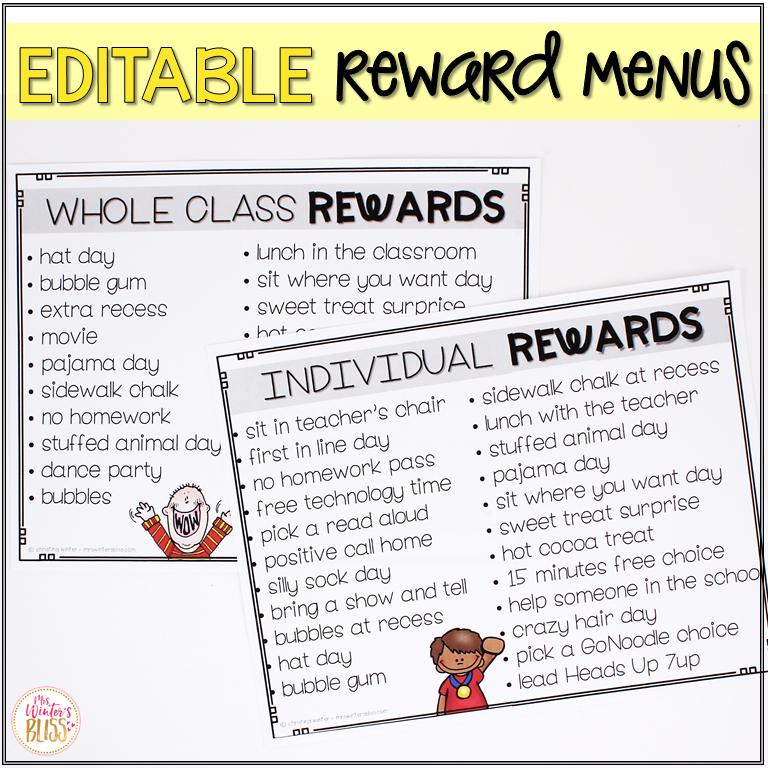 behavior rewards menu