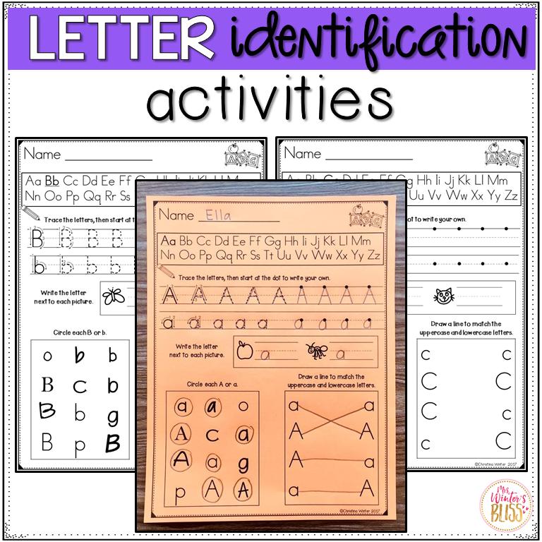 Letter Identification Worksheets   Mrs. Winter's Bliss