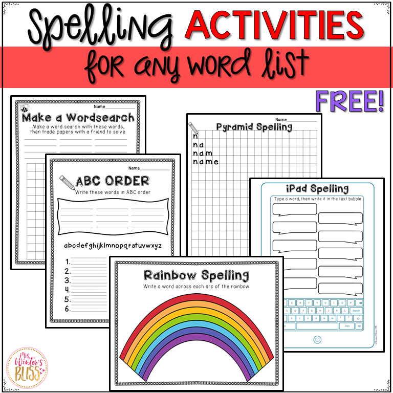 Spelling Activities Mrs Winter S Bliss