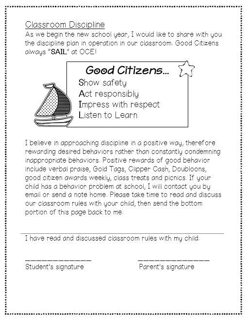 classroom rules letter