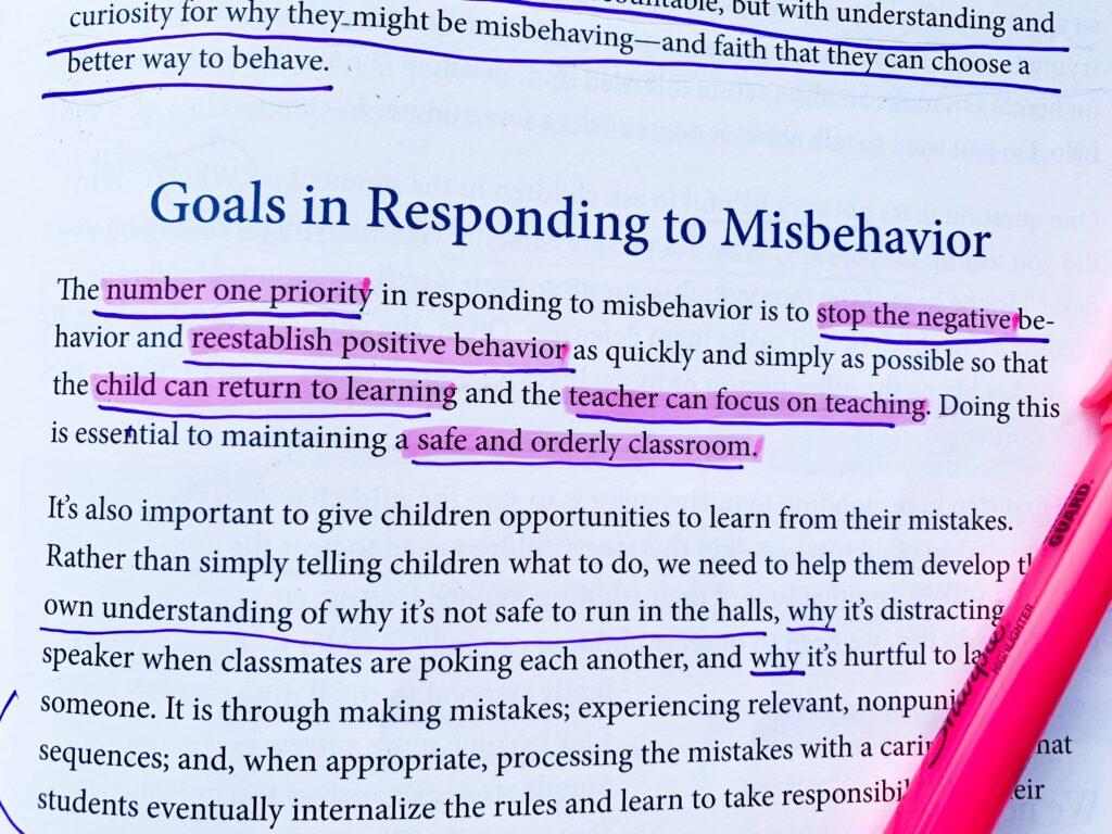 goals in responding to misbehavior